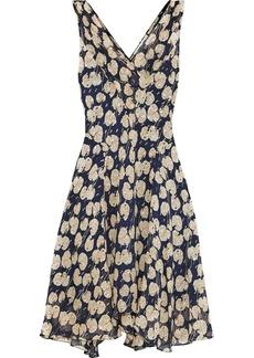 Diane Von Furstenberg Woman Dita Printed Metallic Fil Coupé Georgette Dress Navy