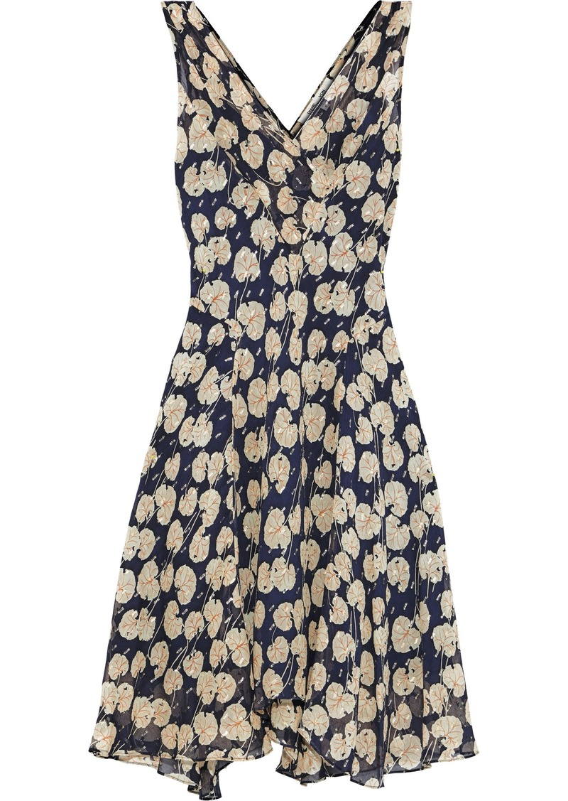 Diane Von Furstenberg Woman Dita Printed Metallic Fil Coupé Georgette Dress Navy