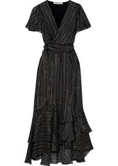 Diane Von Furstenberg Woman Donnie Wrap-effect Printed Burnout Silk-blend Satin Midi Dress Black