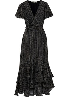 Diane Von Furstenberg Woman Donnie Wrap-effect Printed Burnout Silk-blend Satin Midi Dress Black