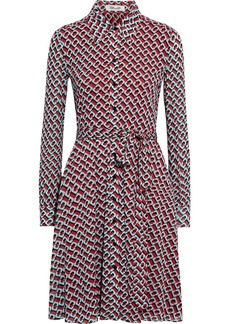 Diane Von Furstenberg Woman Dory Belted Printed Stretch-mesh Shirt Dress Brick