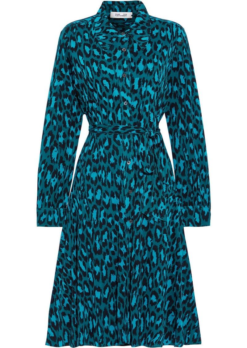 Diane Von Furstenberg Woman Dory Belted Printed Stretch-mesh Shirt Dress Emerald