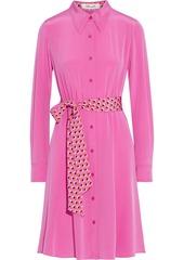 Diane Von Furstenberg Woman Dory Belted Silk Crepe De Chine Shirt Dress Bright Pink