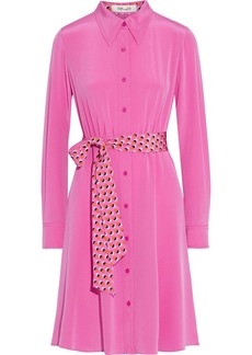 Diane Von Furstenberg Woman Dory Belted Silk Crepe De Chine Shirt Dress Bright Pink