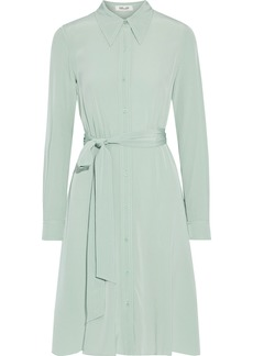 Diane Von Furstenberg Woman Dory Belted Silk Crepe De Chine Shirt Dress Mint