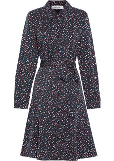 Diane Von Furstenberg Woman Dory Belted Stretch-silk Crepe De Chine Shirt Dress Black