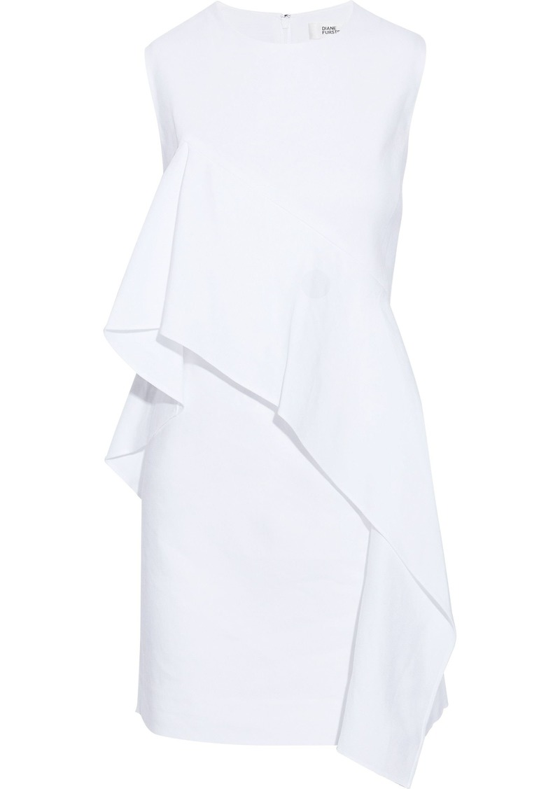 Diane Von Furstenberg Woman Ruffled Linen-blend Twill Mini Dress White