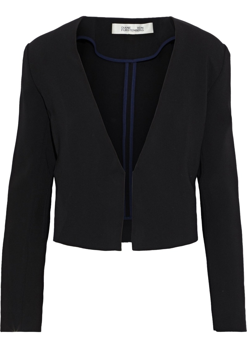Diane Von Furstenberg Woman Dream Cropped Crepe Jacket Black