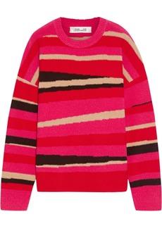 Diane Von Furstenberg Woman Dune Wool-blend Intarsia Sweater Bright Pink