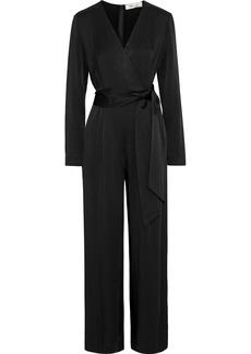 Diane Von Furstenberg Woman Edith Wrap-effect Crepe De Chine Jumpsuit Black