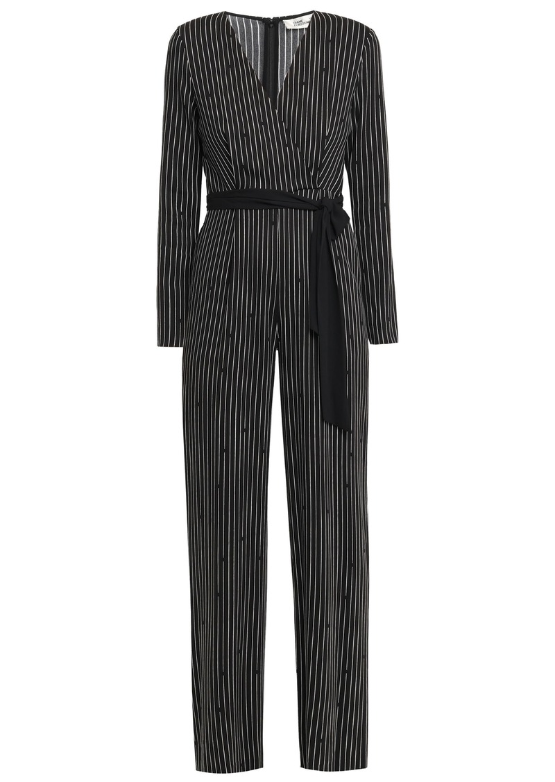 Diane Von Furstenberg Woman Edith Wrap-effect Printed Crepe De Chine Jumpsuit Black