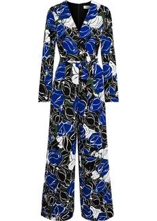 Diane Von Furstenberg Woman Edith Wrap-effect Printed Crepe De Chine Jumpsuit Royal Blue