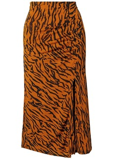 Diane Von Furstenberg Woman Edna Ruched Printed Stretch-mesh Midi Skirt Animal Print