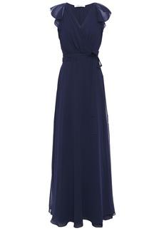 Diane Von Furstenberg Woman Eldridge Ruffled Georgette Maxi Wrap Dress Navy