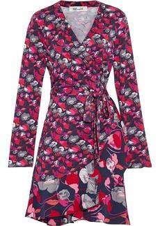 Diane Von Furstenberg Woman Elita Ruffled Printed Silk-jersey And Crepe De Chine Mini Wrap Dress Navy