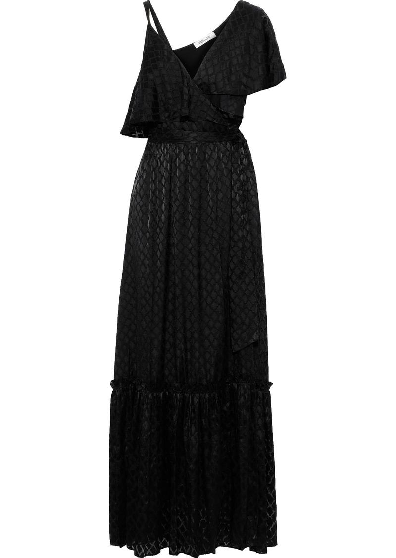 Diane Von Furstenberg Woman Ella Layered Fil Coupé Chiffon Maxi Wrap Dress Black