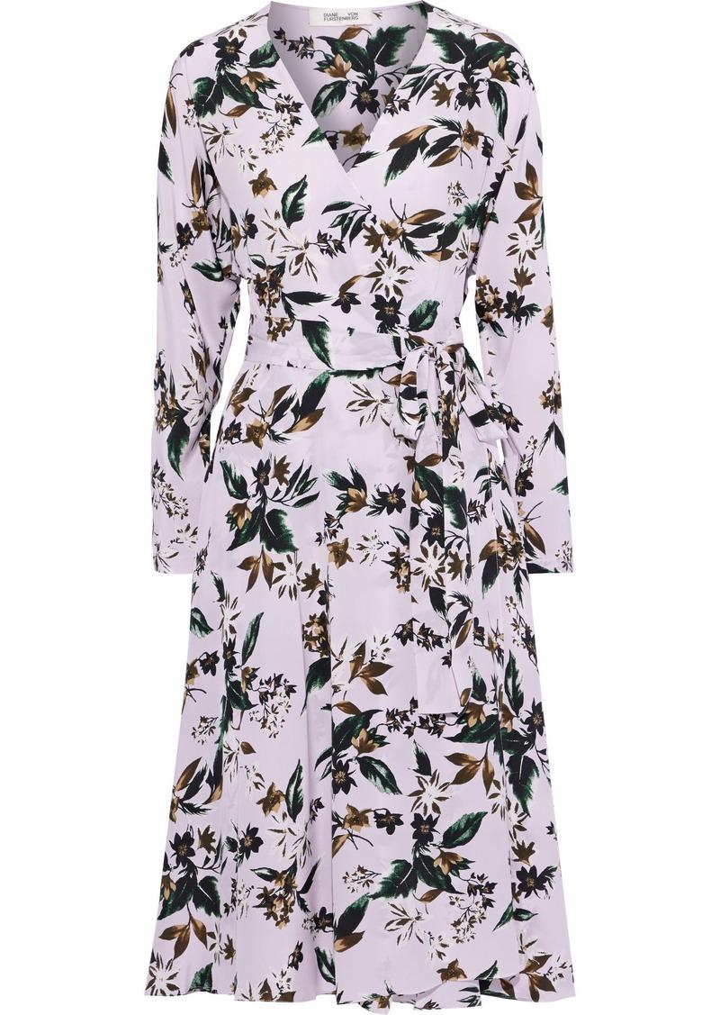 Diane Von Furstenberg Woman Elle Floral-print Silk Crepe De Chine Wrap Dress Lilac