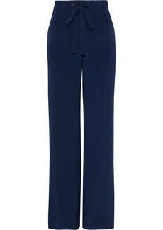 Diane Von Furstenberg Woman Ellington Striped Silk Crepe De Chine Wide-leg Pants Navy