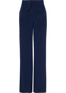 Diane Von Furstenberg Woman Ellington Striped Silk Crepe De Chine Wide-leg Pants Navy