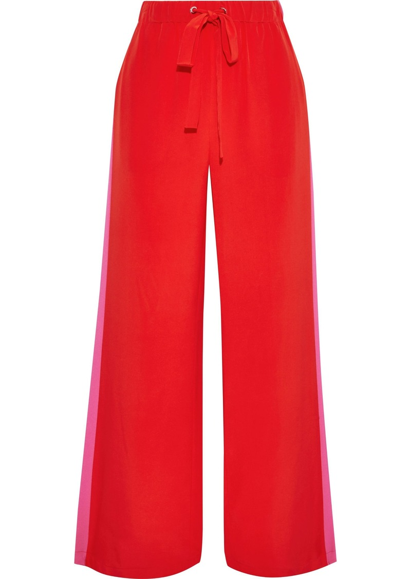 Diane Von Furstenberg Woman Ellington Striped Silk Crepe De Chine Wide-leg Pants Red