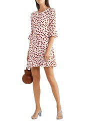 Diane Von Furstenberg Woman Elly Ruffle-trimmed Floral-print Crepe Mini Dress White