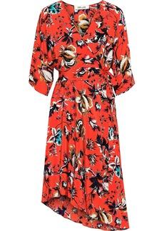 Diane Von Furstenberg Woman Eloise Asymmetric Floral-print Silk Crepe De Chine Wrap Dress Papaya