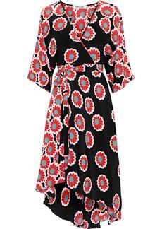 Diane Von Furstenberg Woman Eloise Floral-print Silk Crepe De Chine Wrap Dress Black