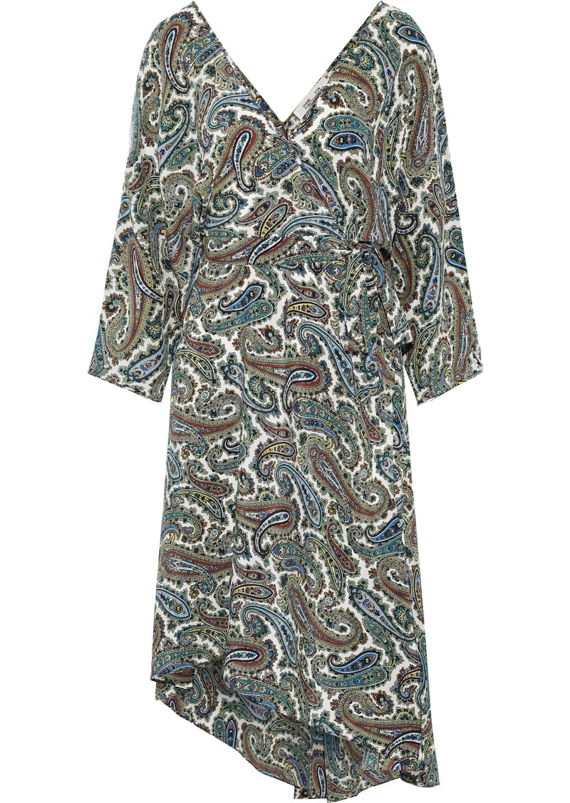 Diane Von Furstenberg Woman Eloise Asymmetric Printed Silk Crepe De Chine Wrap Dress Leaf Green