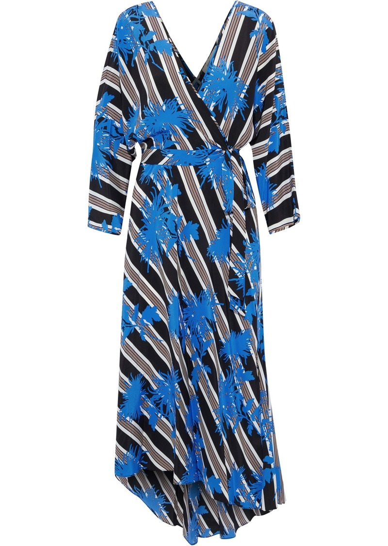 Diane Von Furstenberg Woman Eloise Asymmetric Printed Silk Midi Wrap Dress Multicolor