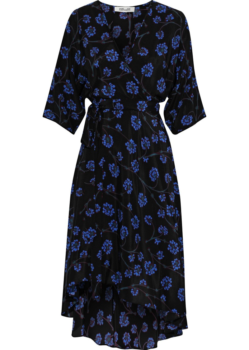 Diane Von Furstenberg Woman Eloise Floral-print Silk Crepe De Chine Wrap Dress Black