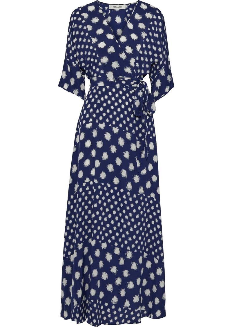 Diane Von Furstenberg Woman Eloise Floral-print Silk Crepe Maxi Wrap Dress Navy