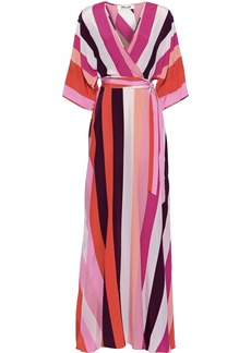 Diane Von Furstenberg Woman Eloise Striped Silk Crepe De Chine Maxi Wrap Dress Multicolor