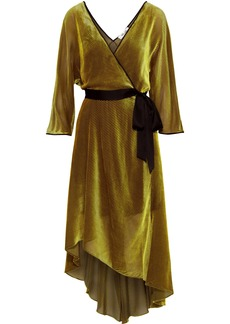 Diane Von Furstenberg Woman Eloise Wrap-effect Satin-trimmed Devoré-mesh Dress Yellow