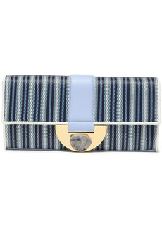 Diane Von Furstenberg Woman Embellished Leather-trimmed Striped Faux Raffia Clutch Light Blue