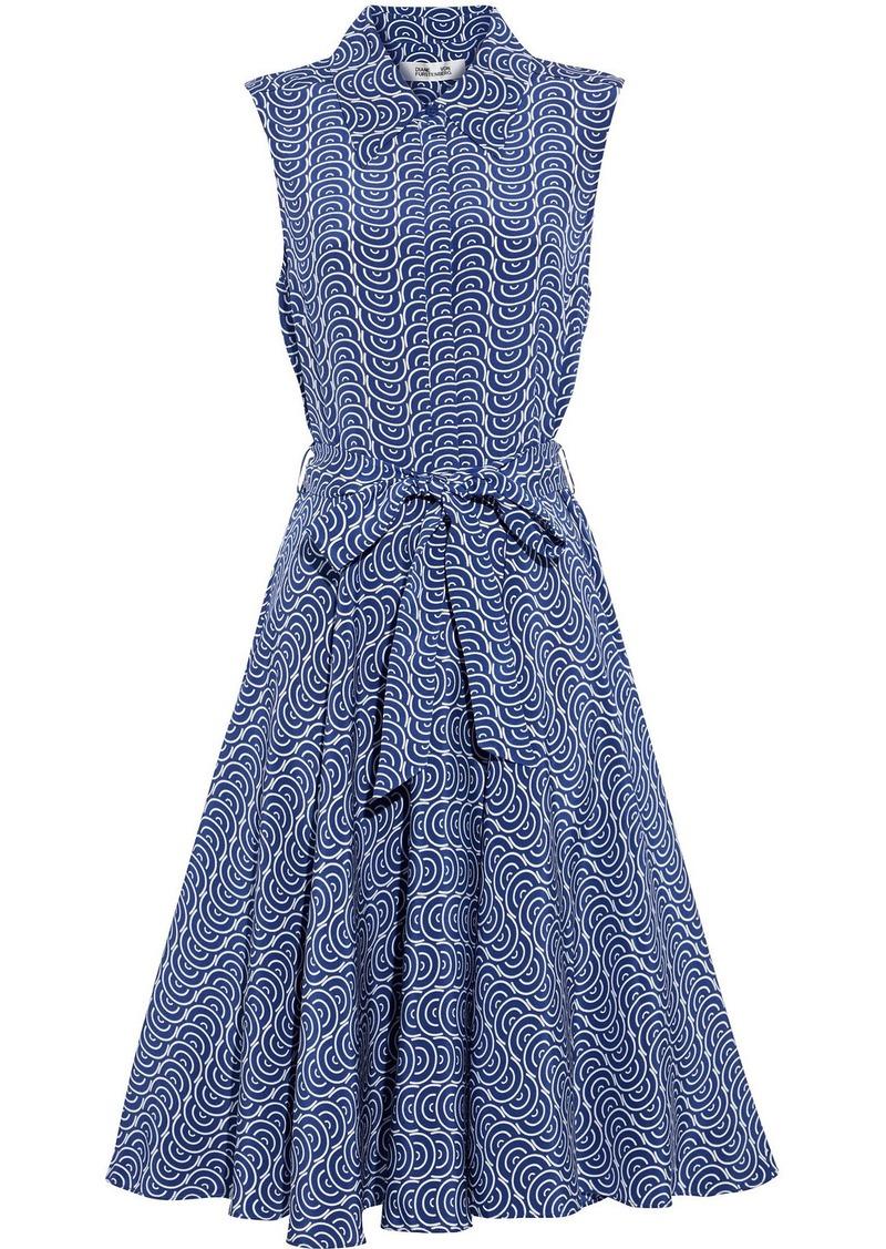 Diane Von Furstenberg Woman Emery Belted Printed Silk Crepe De Chine Dress Indigo