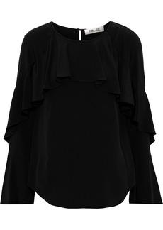 Diane Von Furstenberg Woman Emile Ruffled Silk Crepe De Chine Blouse Black