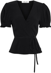 Diane Von Furstenberg Woman Emilia Crepe Peplum Wrap Top Black