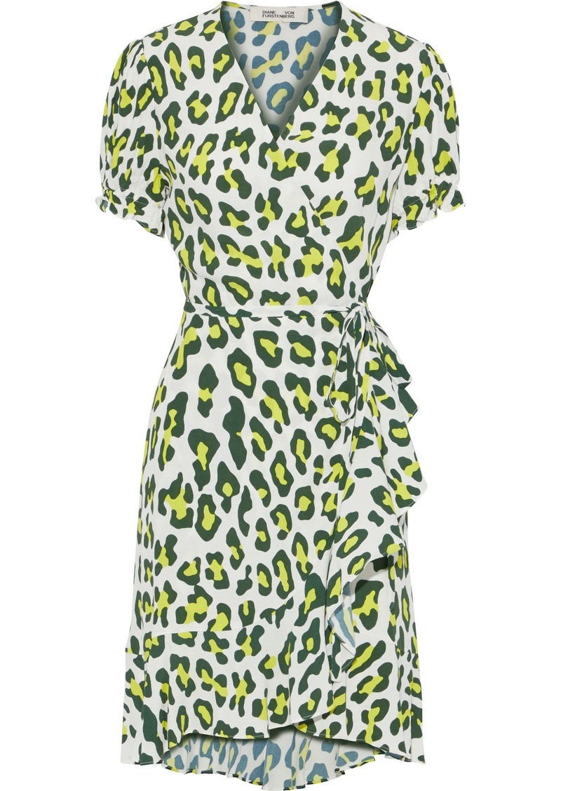 Diane Von Furstenberg Woman Emilia Leopard-print Crepe Mini Wrap Dress Animal Print