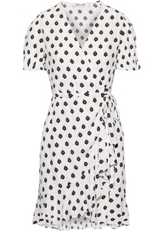 Diane Von Furstenberg Woman Emilia Printed Washed-crepe Mini Wrap Dress White