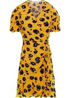 Diane Von Furstenberg Woman Emilia Printed Washed-crepe Mini Wrap Dress Marigold