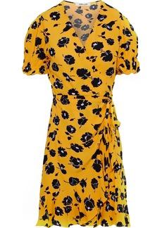 Diane Von Furstenberg Woman Emilia Printed Washed-crepe Mini Wrap Dress Marigold