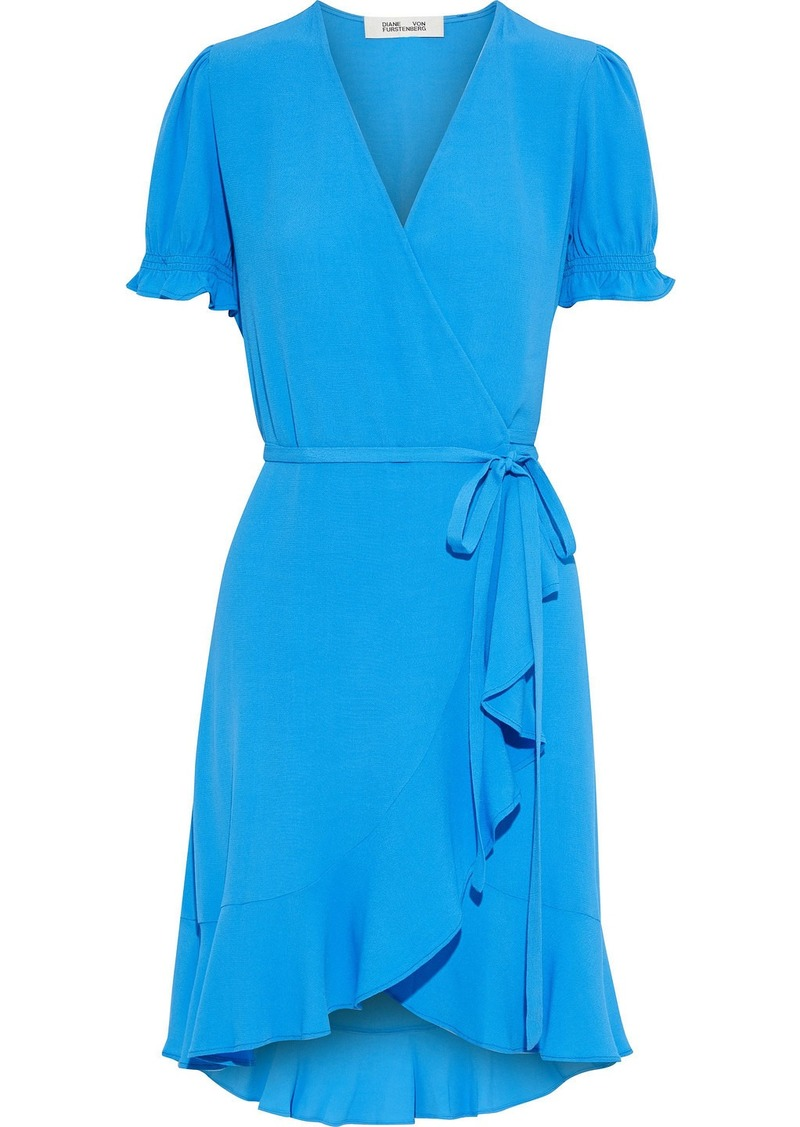 Diane Von Furstenberg Woman Emilia Ruffled Crepe Mini Wrap Dress Azure