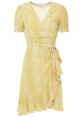 Diane Von Furstenberg Woman Emilia Ruffled Floral-print Crepe Mini Wrap Dress Yellow