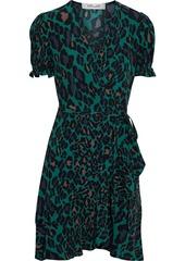 Diane Von Furstenberg Woman Emilia Ruffled Leopard-print Crepe Mini Wrap Dress Emerald