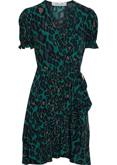 Diane Von Furstenberg Woman Emilia Ruffled Leopard-print Crepe Mini Wrap Dress Emerald