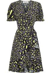 Diane Von Furstenberg Woman Emilia Ruffled Printed Crepe Mini Wrap Dress Chartreuse