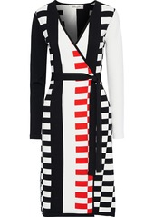 Diane Von Furstenberg Woman Enzo Intarsia-knit Wrap Dress Black