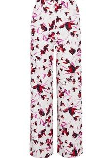 Diane Von Furstenberg Woman Erica Floral-print Stretch-cady Wide-leg Pants Off-white