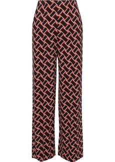 Diane Von Furstenberg Woman Erica Printed Stretch-cady Wide-leg Pants Black