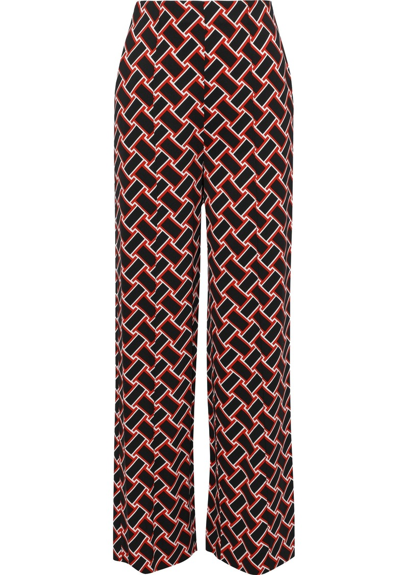 Diane Von Furstenberg Woman Erica Printed Stretch-cady Wide-leg Pants Black